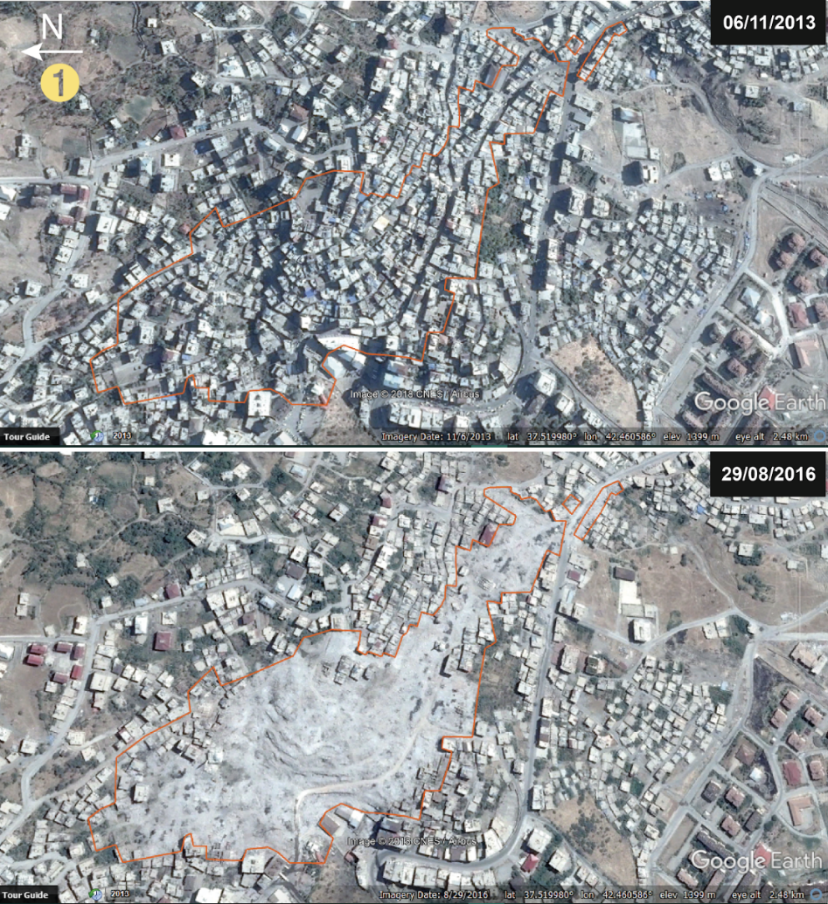 Destruction visible from satellite images in Simak, Turkey