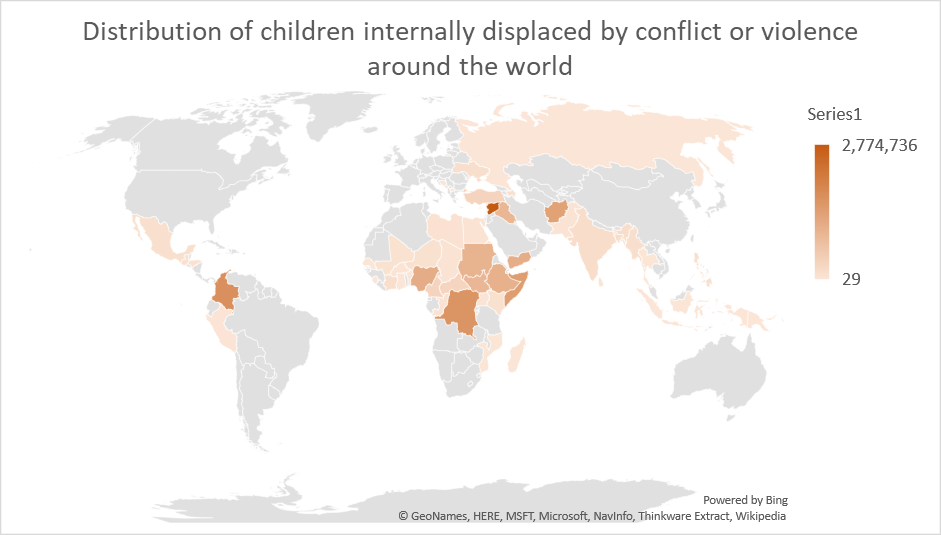 Distribution of children internally displaced by conflict or violence around the world