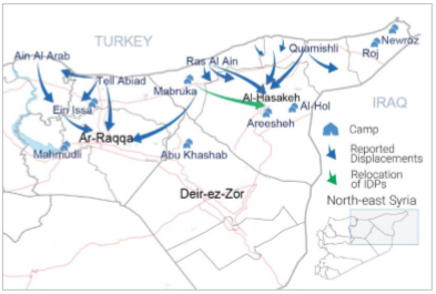 Displacement movements in north-east Syria. Source: OCHA Syria Flash Update # 5