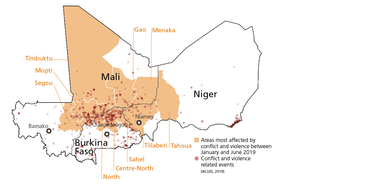 Map showing the areas most affected by violence and conflict