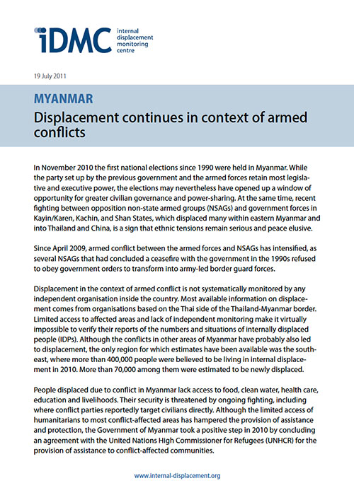 Myanmar: Displacement continues in context of armed conflicts