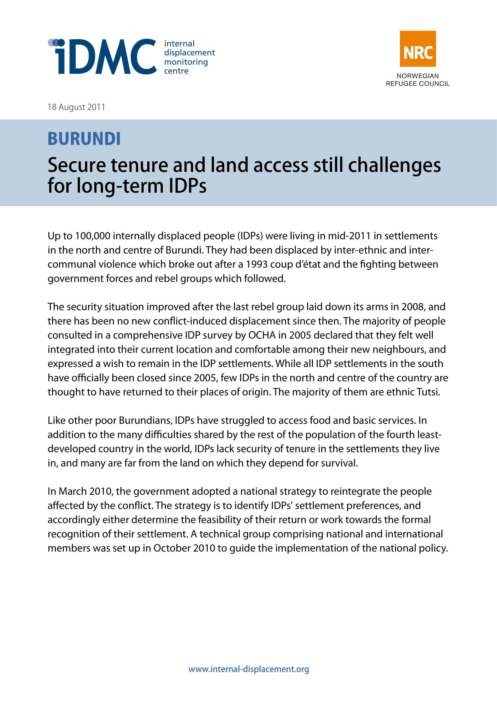 Burundi: Secure tenure and land access still challenges for long-term IDPs