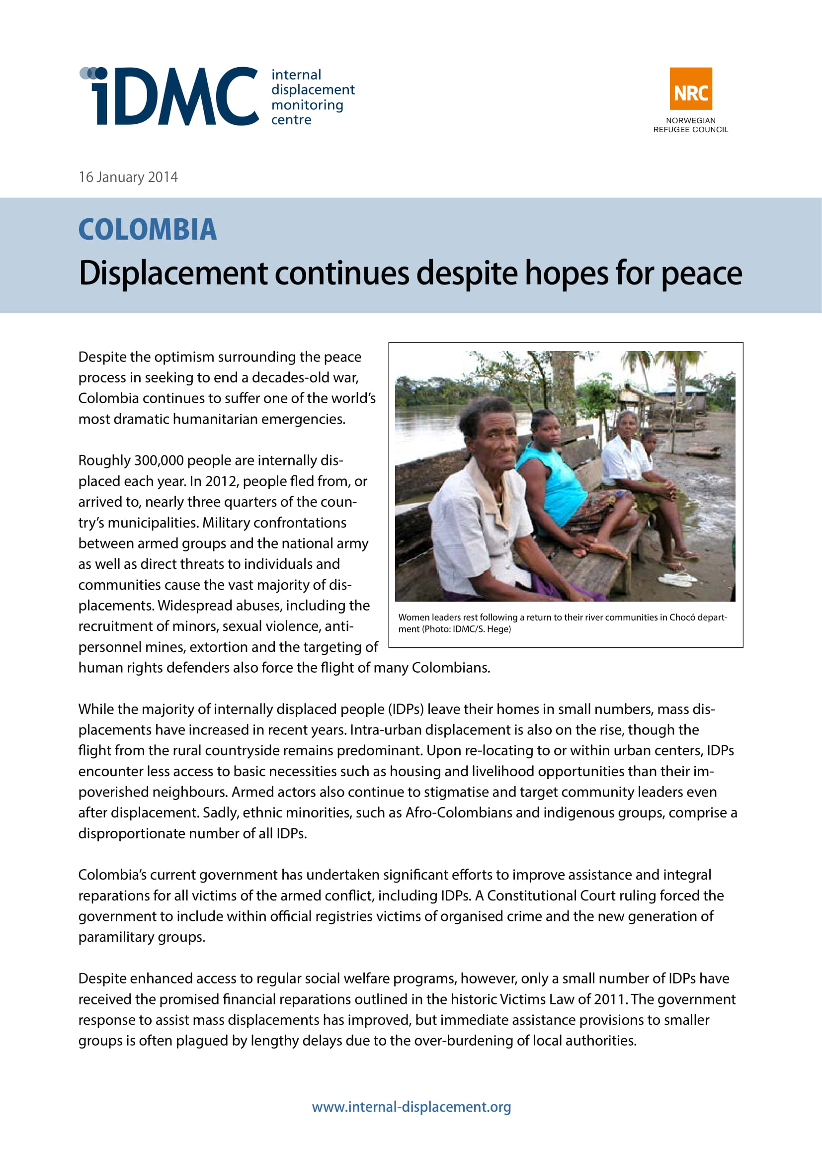 Colombia: Displacement continues despite hopes for peace