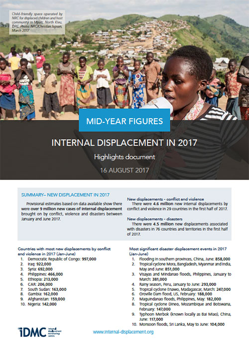 Internal displacement mid-year figures (January-June 2017)