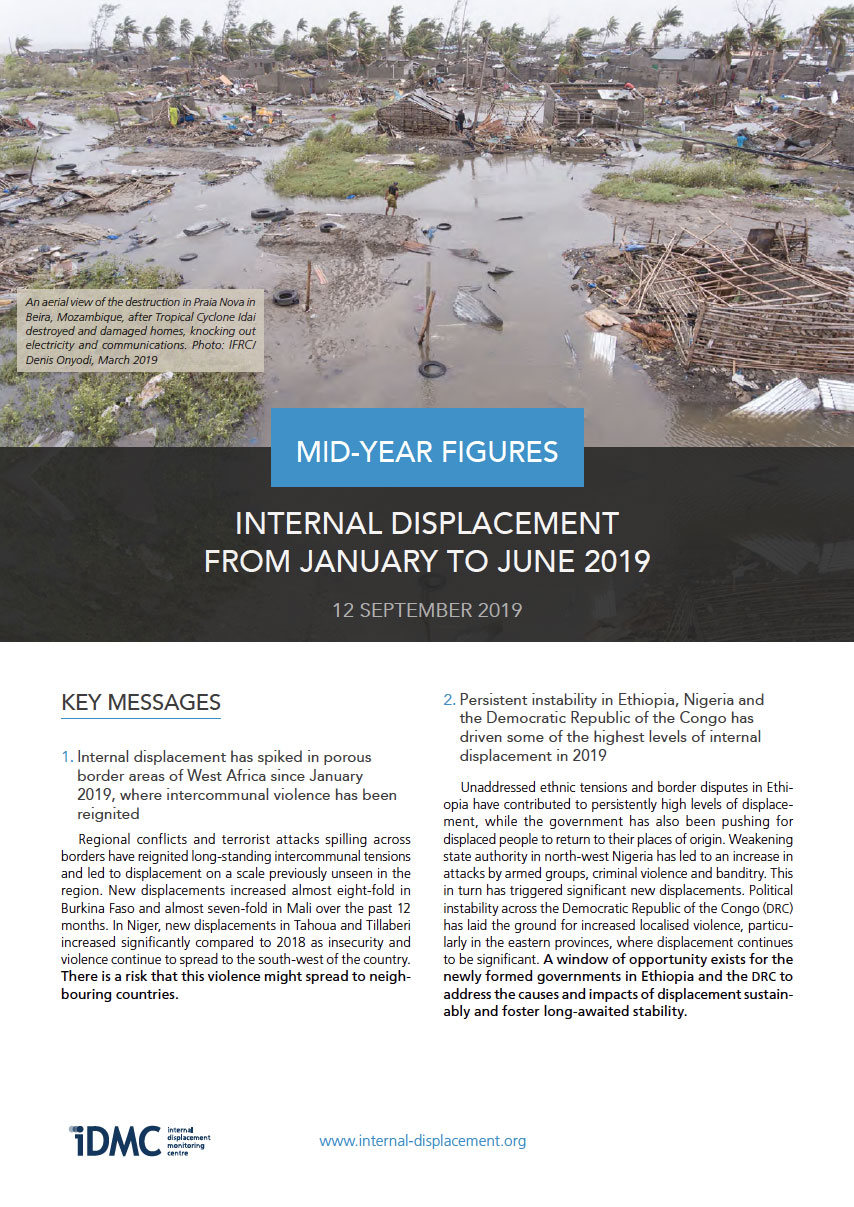 Internal displacement mid-year figures (January - June 2019)