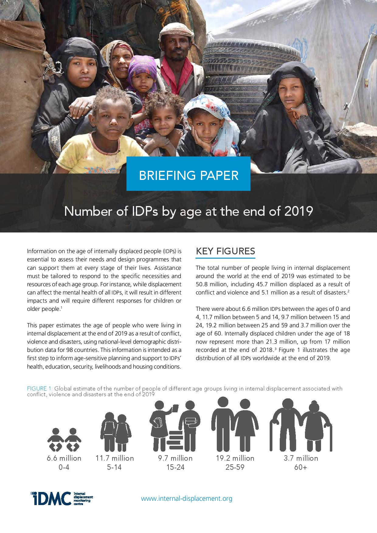 Number of IDPs by age at the end of 2019