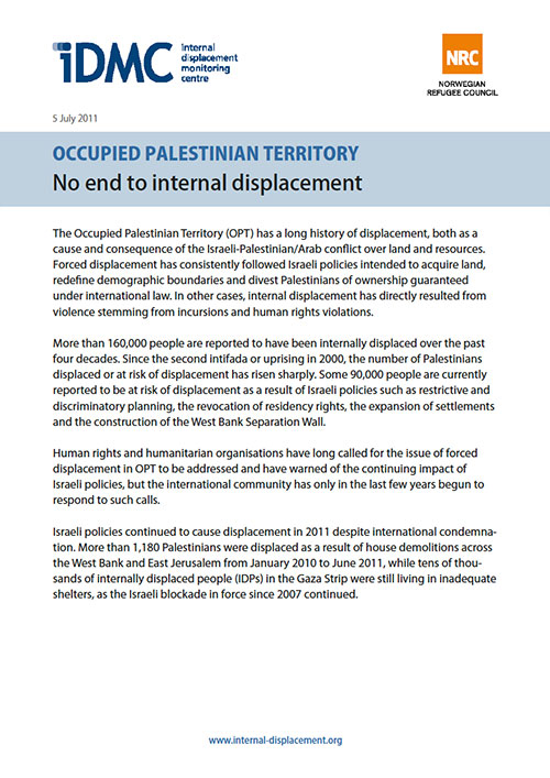 Occupied Palestinian Territory: No end to internal displacement