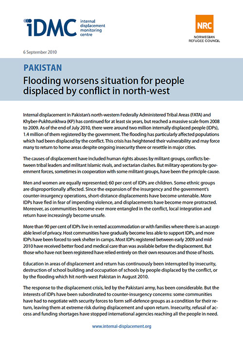 Pakistan: Flooding worsens situation for people displaced by conflict in north-west